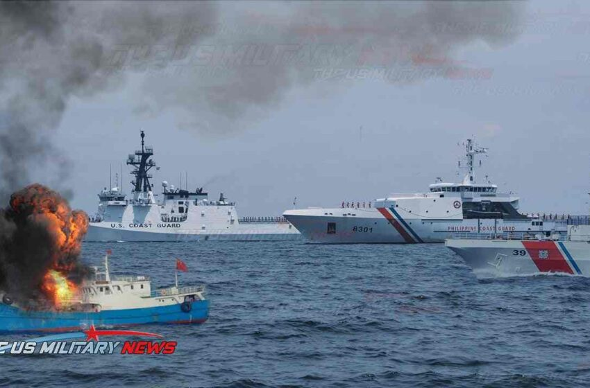 Philippine coast guard force and US navy cripple power of China navy aggressive in South China Sea