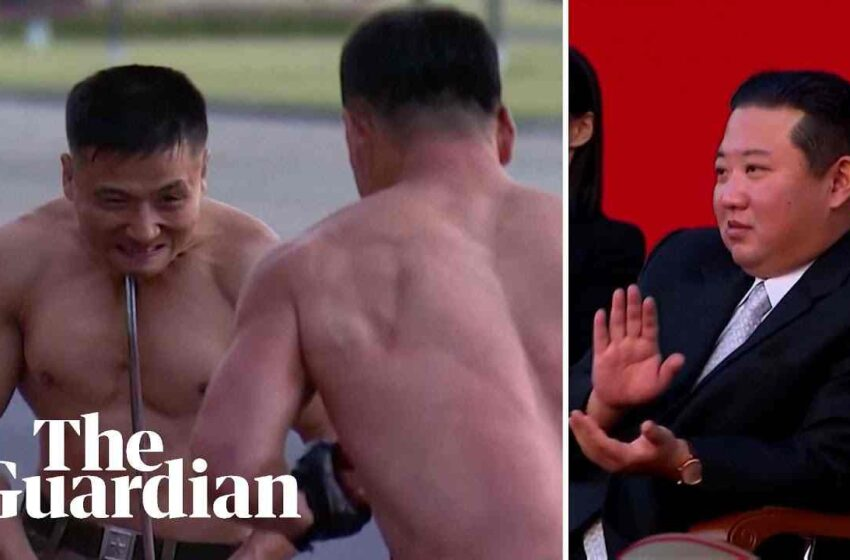 North Korean leader watches extreme martial arts performance